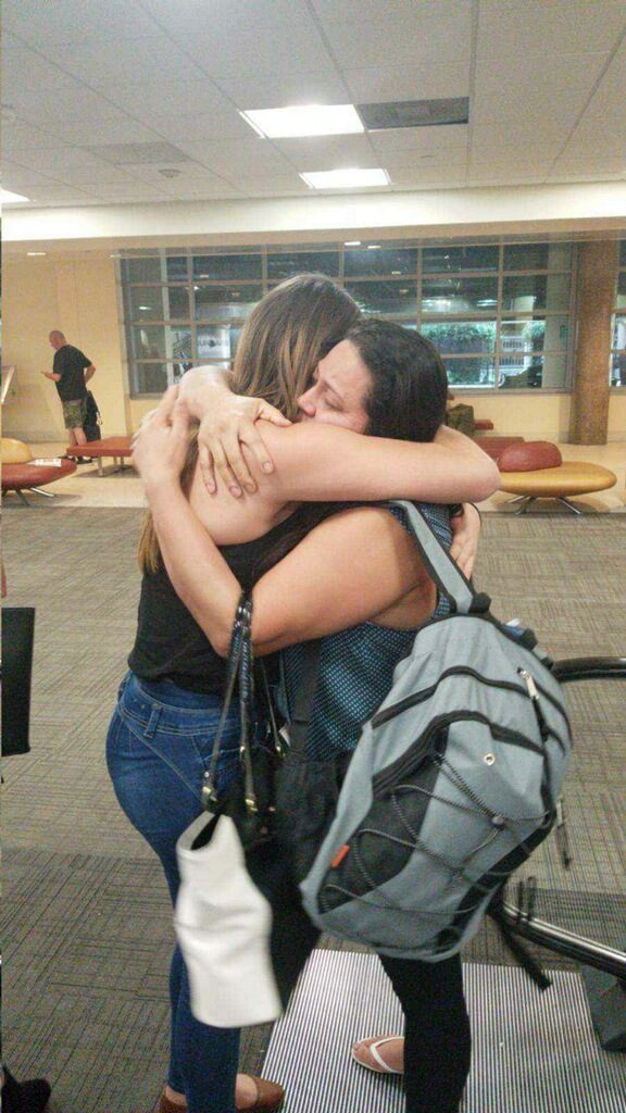 Mother reunited with daughter at the airport