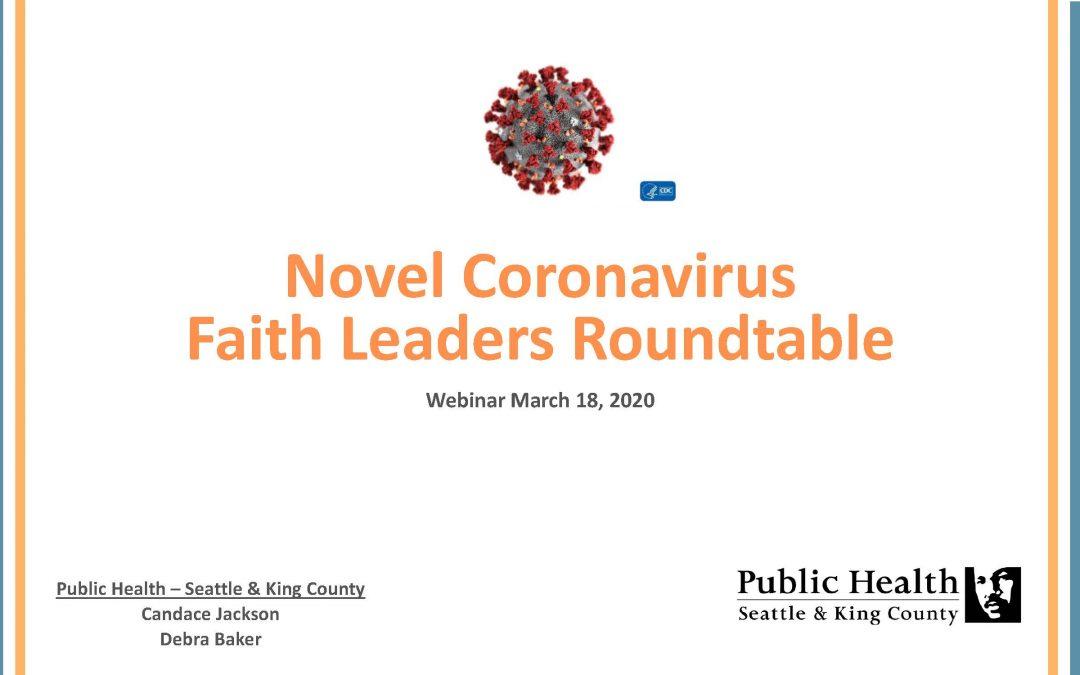 "RESOURCE: PDF Slides from ""Novel Coronavirus Faith Leaders Roundtable"" Webinar on March 18, 2020"